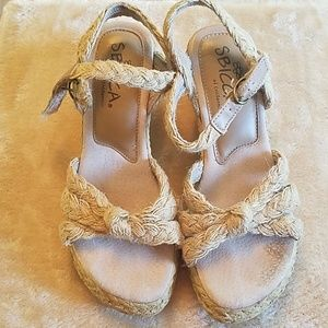 Women's Sbicca Woven strap sandal wedges size 6